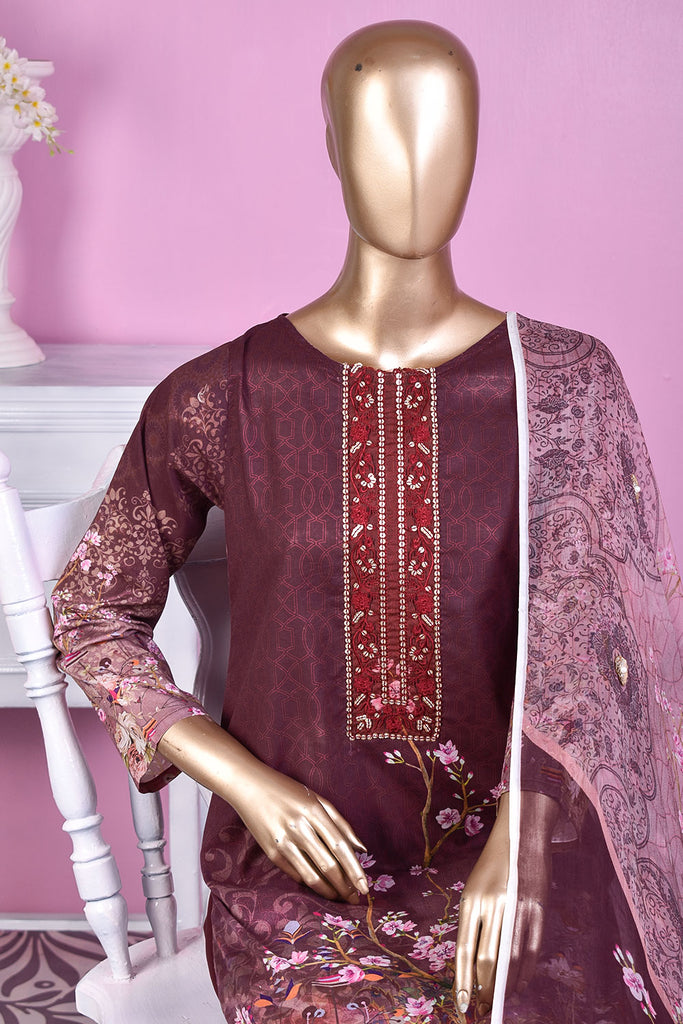 NE-08 - 3 Pc Unstitched Digital Embroidered Lawn Dress With Digital Bamber Chiffon Dupatta (Sequence 3D Work On Dupatta)