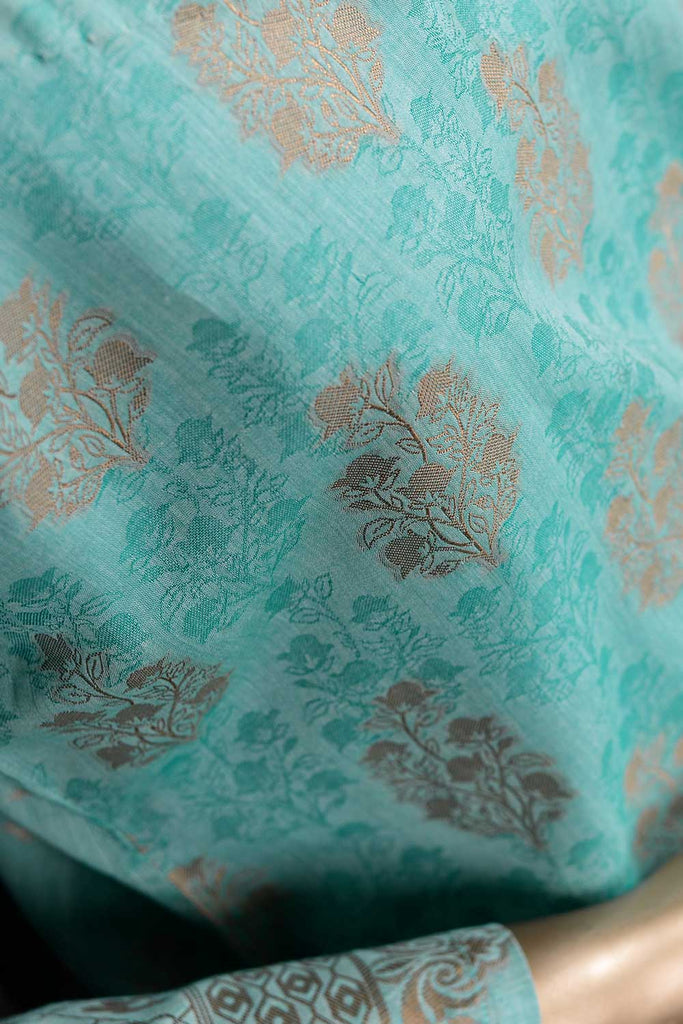Holistic Art (NJ-04-Cyan) 3 Piece Un-stitched Jacquard Banarsi Lawn Dress
