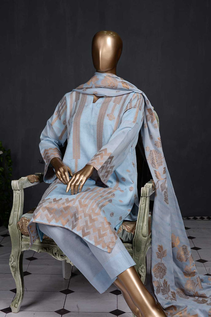 Beautiful Chaos (NJ-06-SkyBlue) 3 Piece Un-stitched Jacquard Banarsi Lawn Dress
