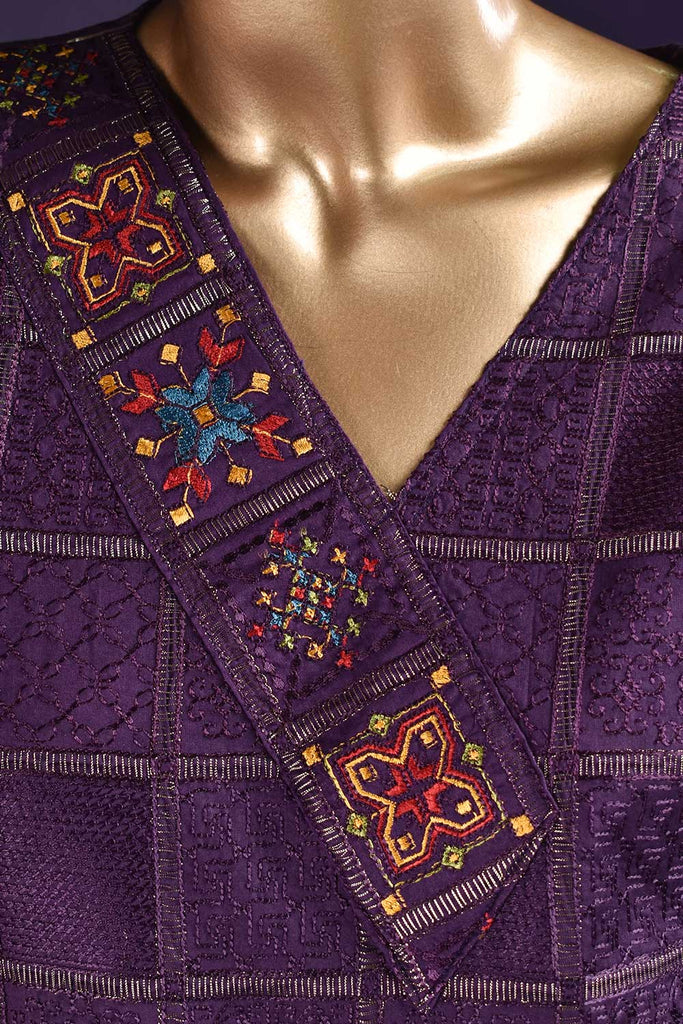 Needle Match (SC-121A-Purple) Embroidered & Printed Un-Stitched Cambric Dress With Embroidered Chiffon Dupatta