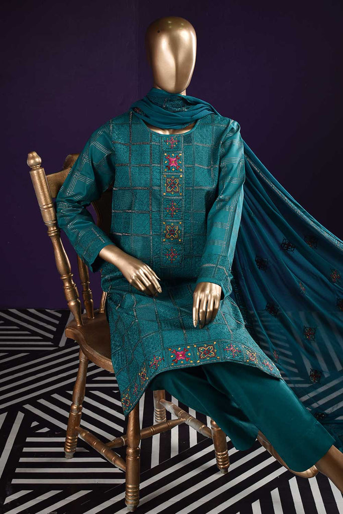 Needle Match (SC-121B-Turquoise) Embroidered & Printed Un-Stitched Cambric Dress With Embroidered Chiffon Dupatta