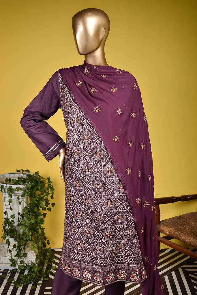 Octopus (SC-130A-Purple) Embroidered & Printed Un-Stitched Cambric Dress With Embroidered Chiffon Dupatta