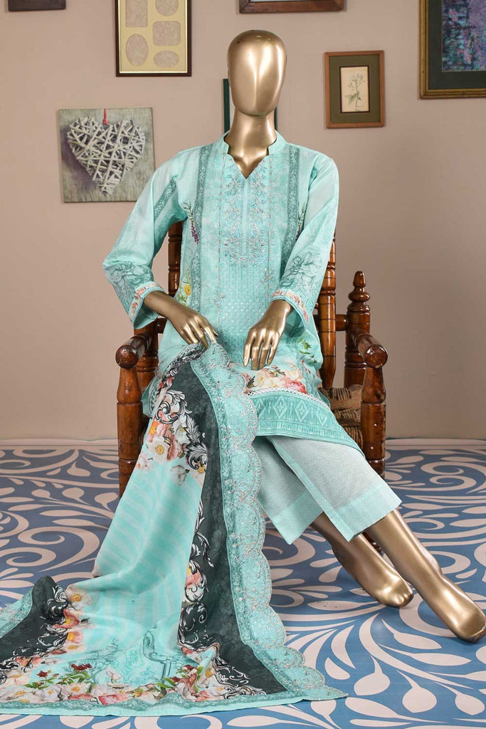 Orchid (F3-02) - 3 Pc Unstitched Embroidered Digital Printed Cambric with Embellishments of Sequins and Mirror Work along with Cambric Trouser and Cut-Work Embroidered Lawn Digital Dupatta