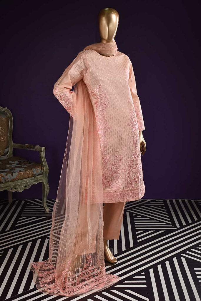 Organza Paradise (SC-122A-Peach) Embroidered & Printed Un-Stitched Organza Dress With Embroidered Net Dupatta