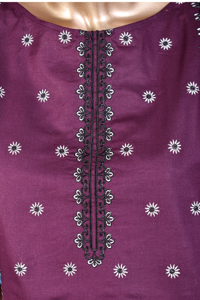 Pankhuri (SC-156A-Purple) Embroidered & Printed Un-Stitched Cotton Dress With Embroidered Chiffon Dupatta