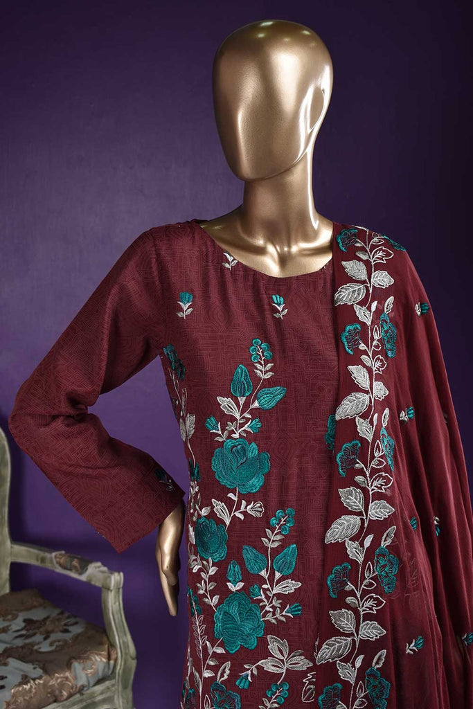 Pastry Garden (RS-03A-Maroon) Embroidered & Printed Un-Stitched Raw Silk Dress With Embroidered Chiffon Dupatta
