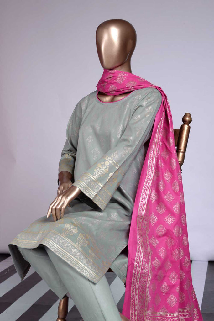 Pure Charisma (CC-3C-Grey) 3 Pc Printed Cambric Dress with Pink Dupatta