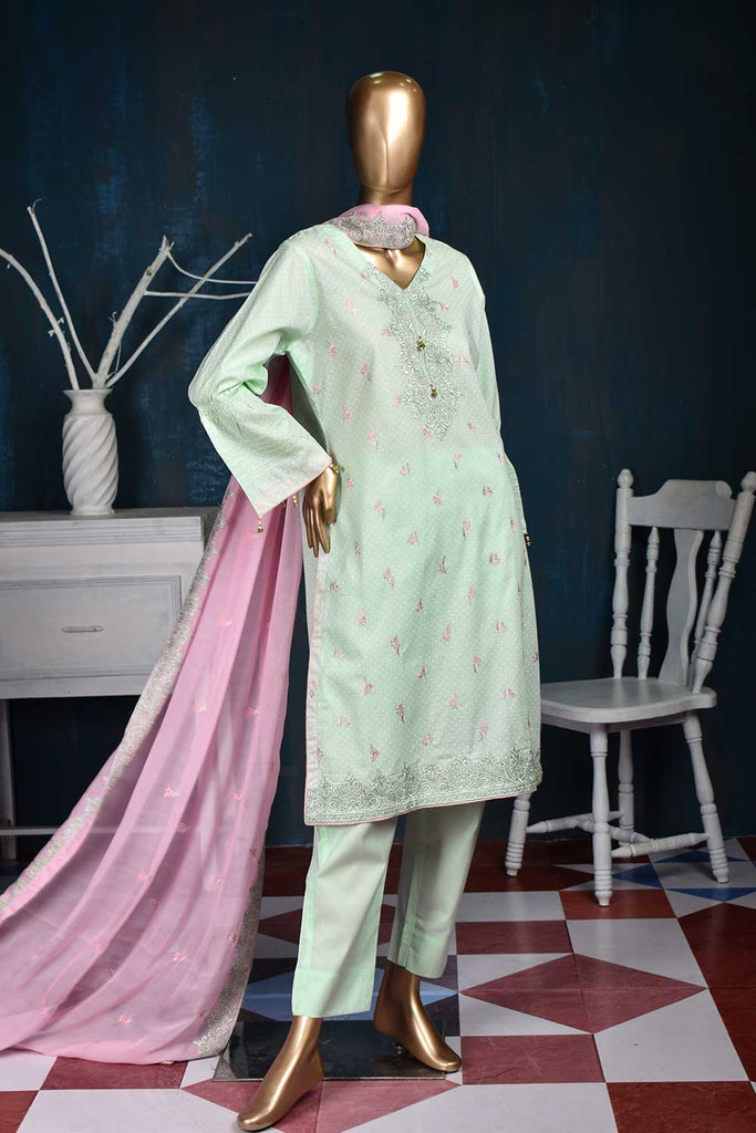 Rai Dana (SC-13C-LightGreen) Embroidered Un-Stitched Cambric Dress With Chiffon Dupatta