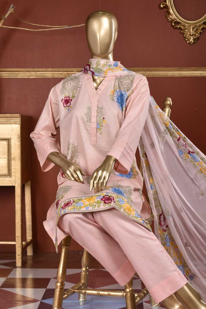 Rain Spray (SC-108B-Pink) Embroidered & Printed Un-Stitched Cambric Dress With Embroidered Chiffon Dupatta