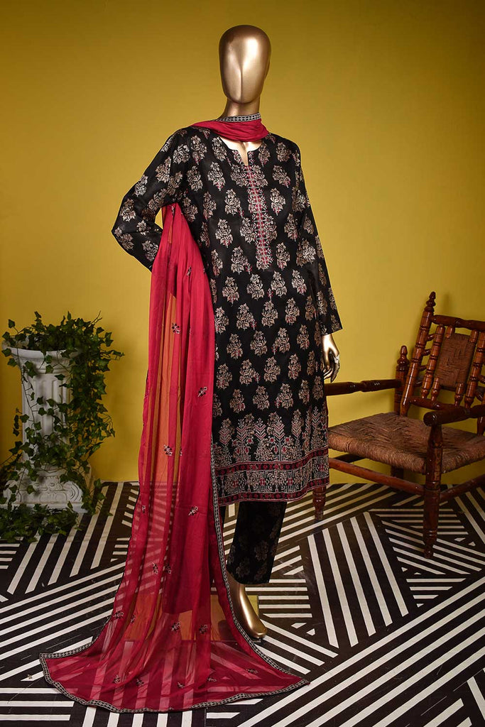 Rocket X (SC-128A-Black) Embroidered & Printed Un-Stitched Cambric Dress With Embroidered Chiffon Dupatta