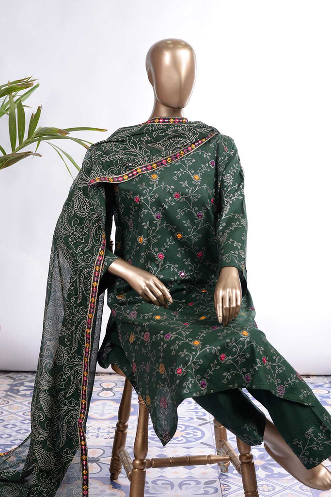 Rose Petals (SC-71C-Green) Embroidered Un-Stitched Cambric Dress With Embroidered Chiffon Dupatta