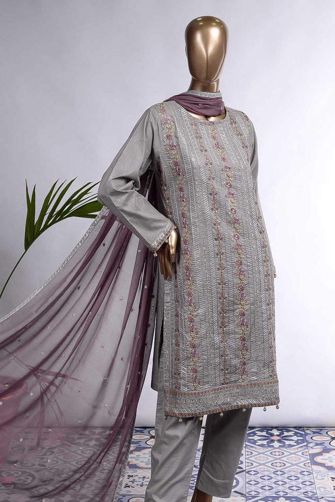 Roses Appeal (SC-77A-Light Grey) Embroidered Cambric Dress with Embroidered Chiffon Dupatta