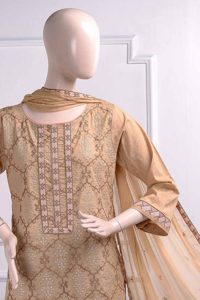 Cross Stitch (SC-12B-Light Brown) Embroidered Un-Stitched Cambric Dress With Chiffon Dupatta