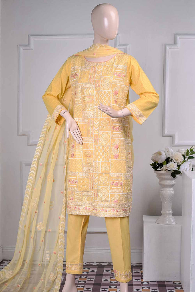 Galaxy (SC-14A-Yellow) Embroidered Un-Stitched Cambric Dress With Chiffon Dupatta