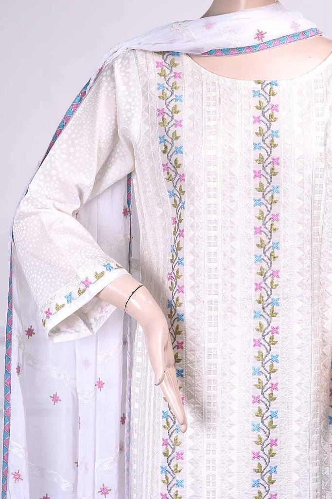 Frontline (SC-21B-White) Embroidered Un-Stitched Cambric Dress With Embroidered Chiffon Dupatta