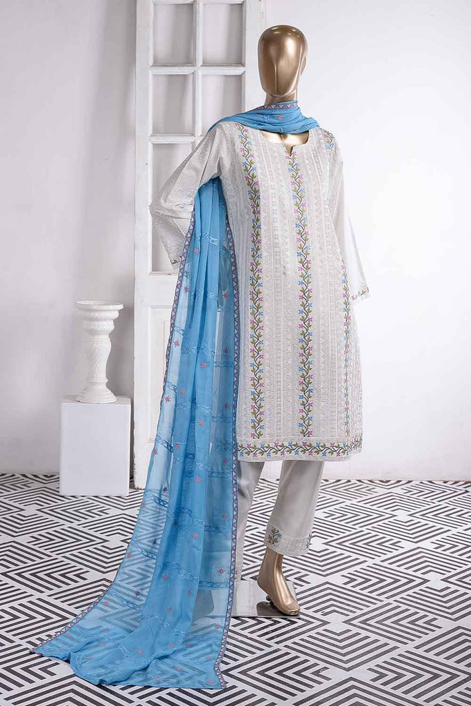 Frontline (SC-21C-White) Embroidered Un-Stitched Cambric Dress With Embroidered Chiffon Dupatta