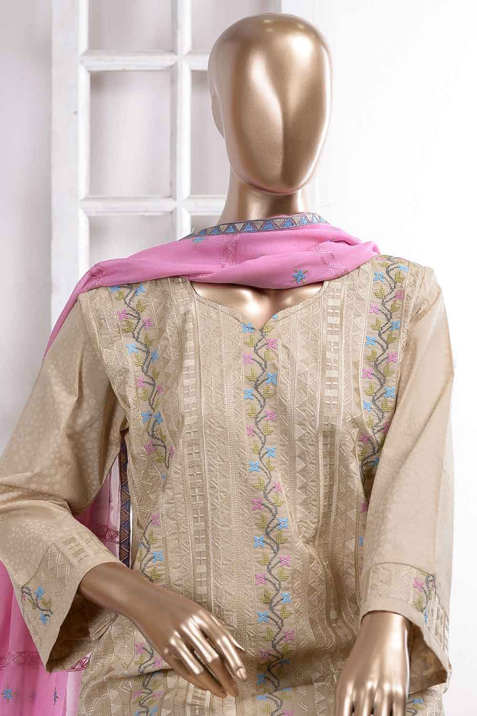 Frontline (SC-21D-Skin) Embroidered Un-Stitched Cambric Dress With Embroidered Chiffon Dupatta