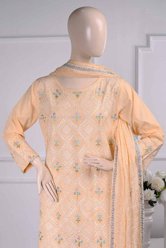 Chikan Marble (SC-22A-Peach) Embroidered Un-Stitched Cambric Dress With Chiffon Dupatta