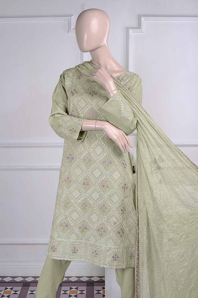 Chikan Marble (SC-22B-Green) Embroidered Un-Stitched Cambric Dress With Chiffon Dupatta