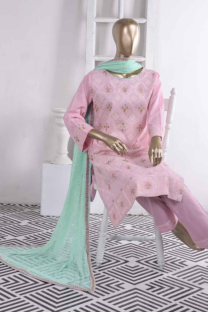Chikan Marble (SC-22C-Pink) Embroidered Un-Stitched Cambric Dress With Chiffon Dupatta