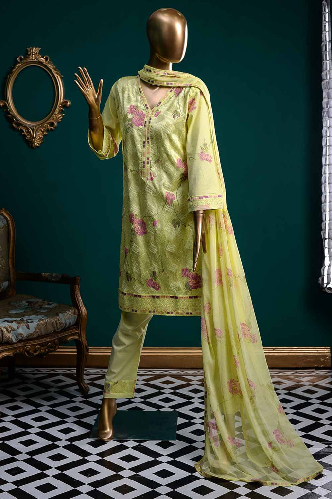 Arri Brush (SC-27A-Yellow) Embroidered Un-Stitched Cambric Dress With Embroidered Chiffon Dupatta