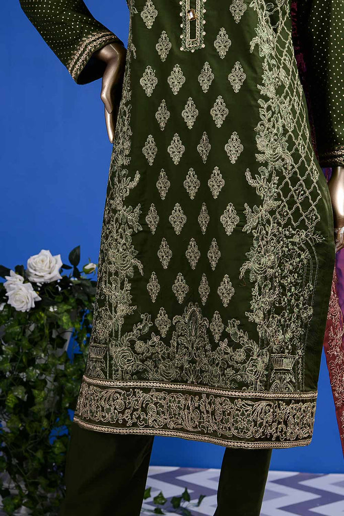 Aesthetic Heritage (SC-29A-Green) Embroidered Un-Stitched Cambric Dress With Embroidered Chiffon Dupatta