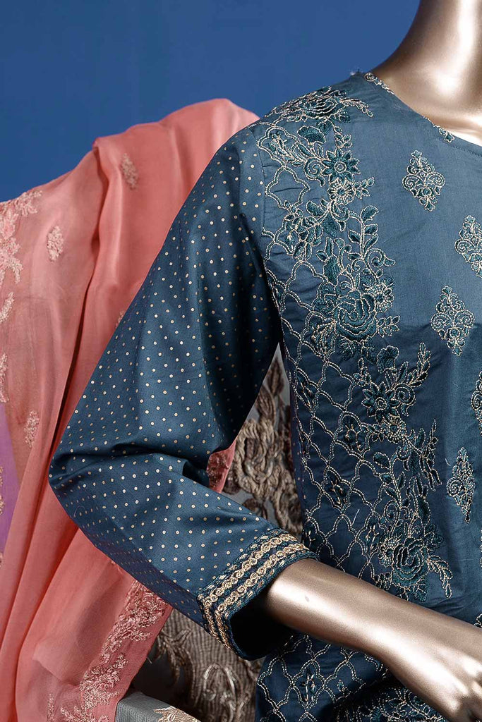 Aesthetic Heritage (SC-29B-Blue) Embroidered Un-Stitched Cambric Dress With Embroidered Chiffon Dupatta
