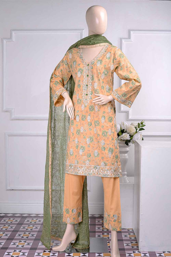 Sona Chandi (SC-2I-Orange) | Embroidered Un-Stitched Cambric Dress With Chiffon Dupatta