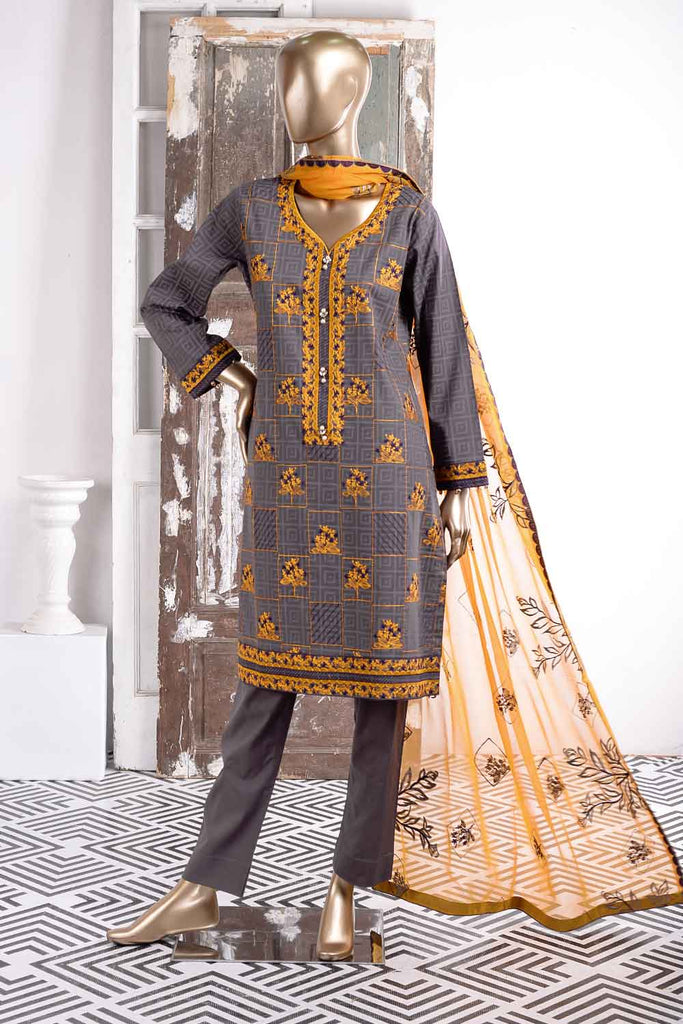 Dazzling Dawn (SC-32A-Grey) Embroidered Un-Stitched Cambric Dress With Embroidered Chiffon Dupatta