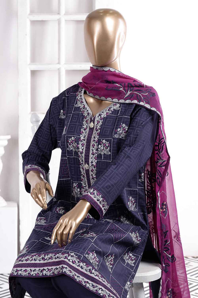 Dazzling Dawn (SC-32B-Blue) Embroidered Un-Stitched Cambric Dress With Embroidered Chiffon Dupatta