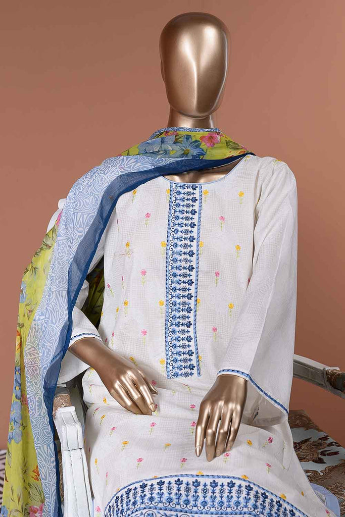 Wafer (SC-34A-White) Embroidered Un-Stitched Cambric Dress With Printed Chiffon Dupatta
