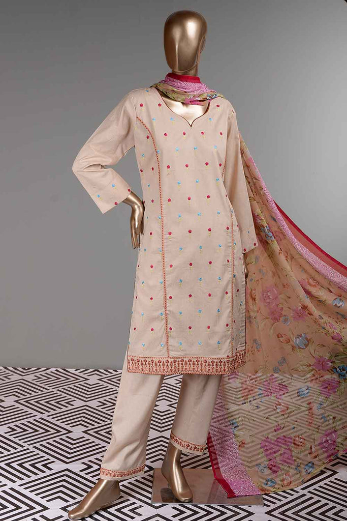 Wafer (SC-34B-Skin) Embroidered Un-Stitched Cambric Dress With Printed Chiffon Dupatta