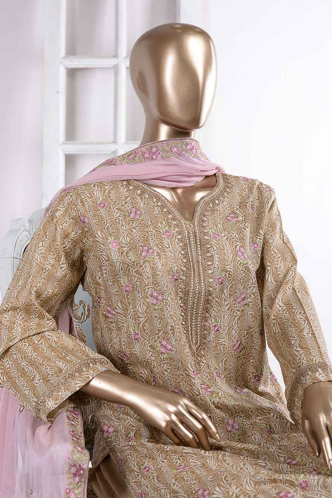 Shining Ray (SC-35A-Skin) Embroidered Un-Stitched Cambric Dress With Embroidered Chiffon Dupatta