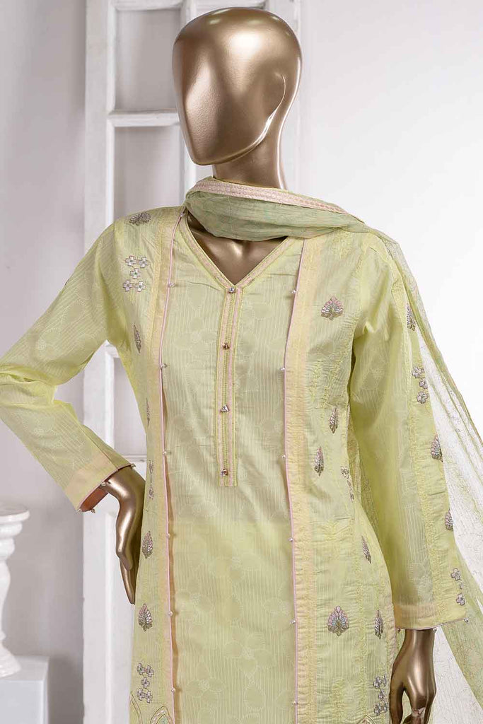 Drop Flower (SC-37A-Yellow) Embroidered Un-Stitched Cambric Dress With Embroidered Chiffon Dupatta