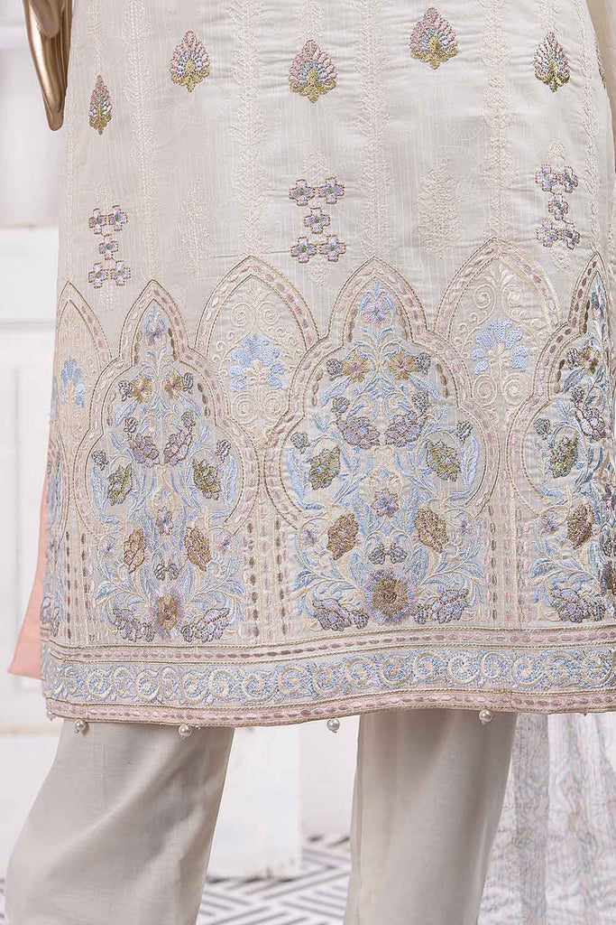 Drop Flower (SC-37B-White) Embroidered Un-Stitched Cambric Dress With Embroidered Chiffon Dupatta