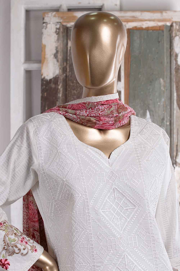 SnowDrop (SC-38A-White) Embroidered Un-Stitched Cambric Dress With Embroidered Chiffon Dupatta