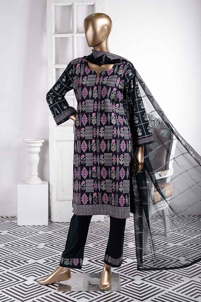 Grill (SC-39A-Black) Embroidered Cambric Dress with Embroidered Chiffon Dupatta