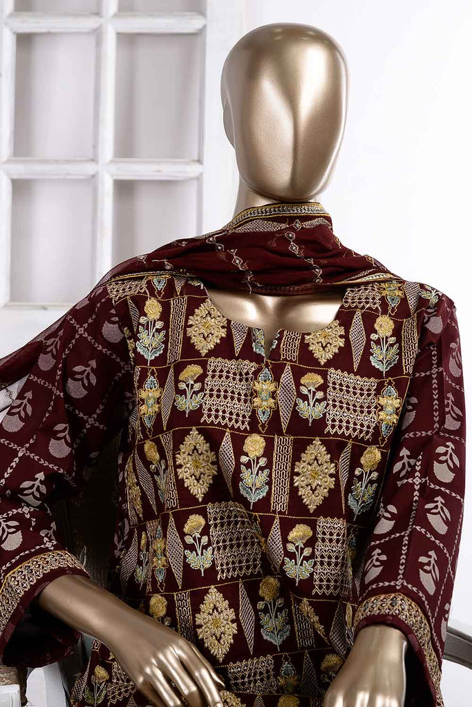 Grill (SC-39B-Maroon) Embroidered Cambric Dress with Embroidered Chiffon Dupatta