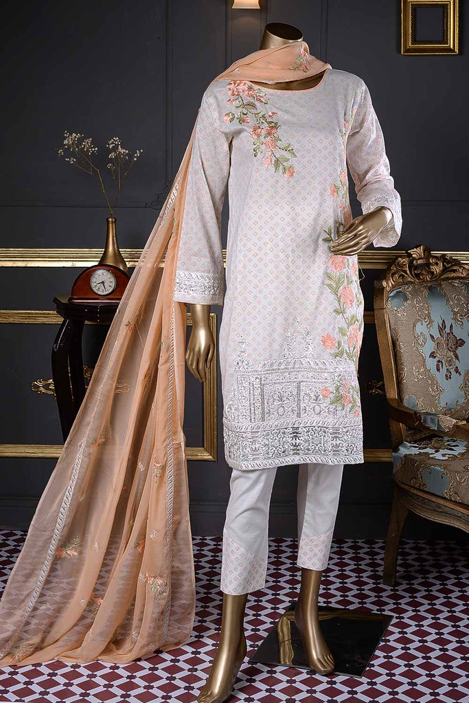 Time Square (SC-28A-White) Embroidered Un-Stitched Cambric Dress With Embroidered Chiffon Dupatta