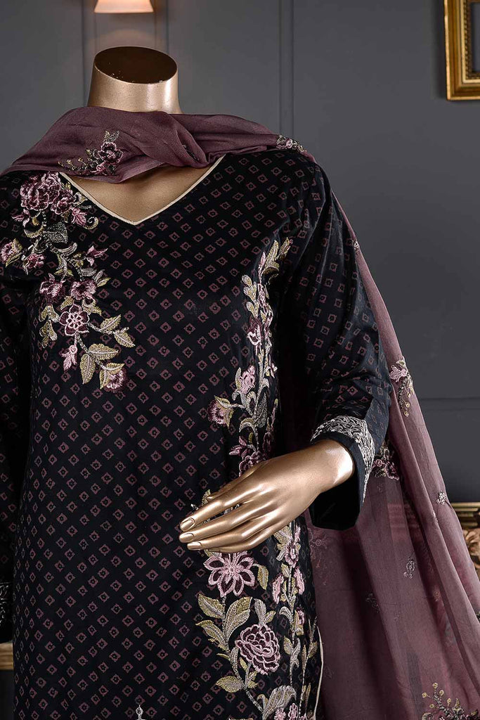 Time Square (SC-28B-Black) Embroidered Un-Stitched Cambric Dress With Embroidered Chiffon Dupatta