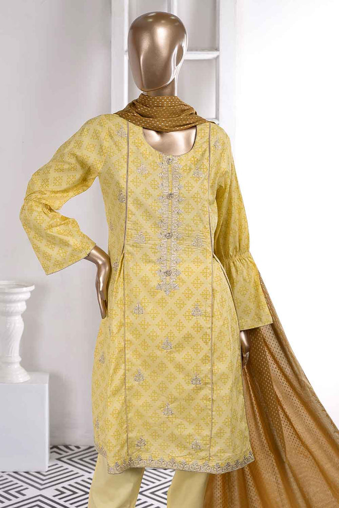 Rail Track (SC-41A-Yellow) Embroidered Un-Stitched Cambric Dress With Printed Cambric Dupatta