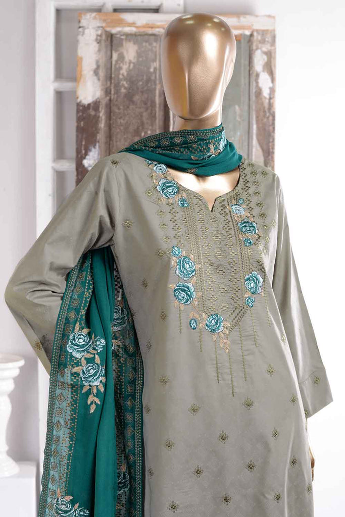 Cusion Print (SC-44A-Grey) Embroidered Cambric Dress with Embroidered Chiffon Dupatta