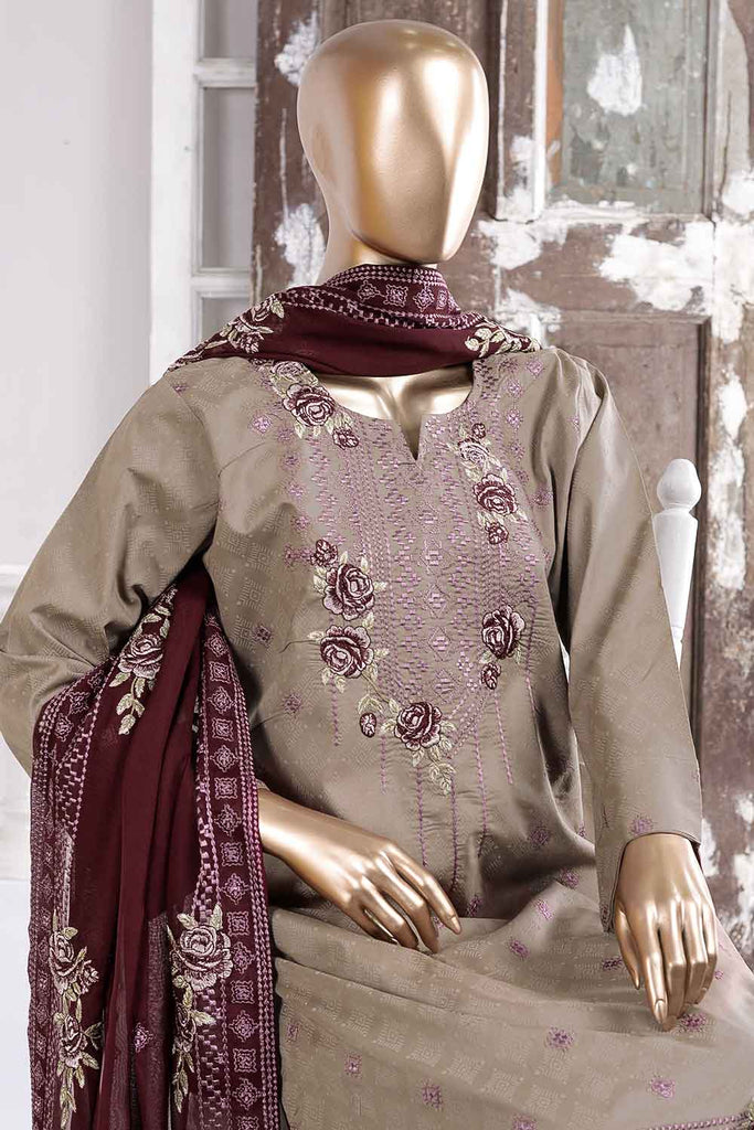Cusion Print (SC-44B-Grey) Embroidered Cambric Dress with Embroidered Chiffon Dupatta