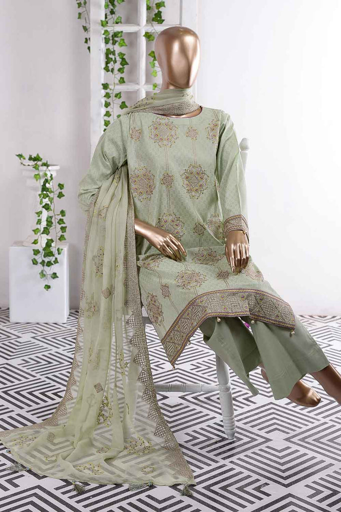 Butterfly Box (SC-47B-Green) Embroidered Un-Stitched Cambric Dress With Embroidered Chiffon Dupatta