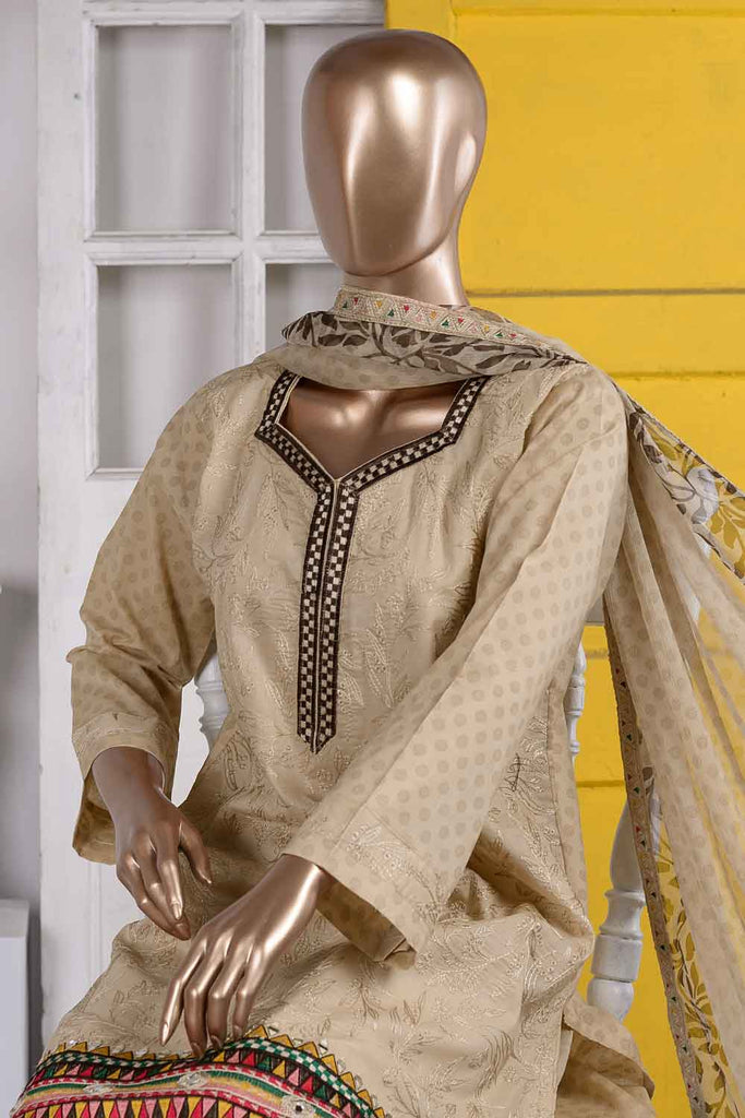 Sheesha Daaman (SC-49A-Skin) Embroidered Cambric Dress with Embroidered Chiffon Dupatta