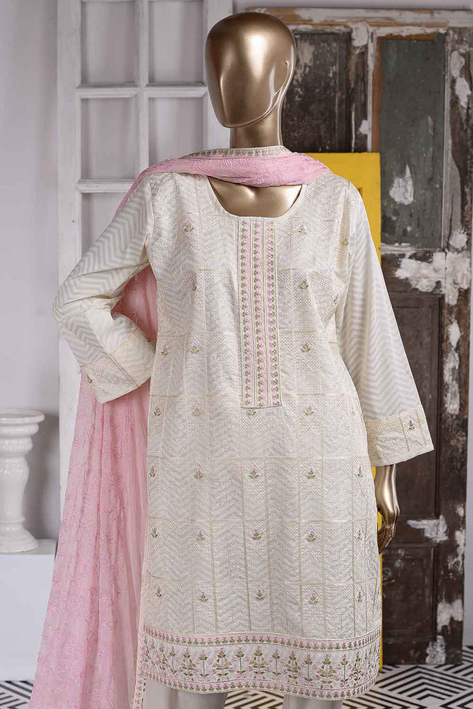 Soneri (SC-50B-White) Embroidered Cambric Dress with Embroidered Chiffon Dupatta