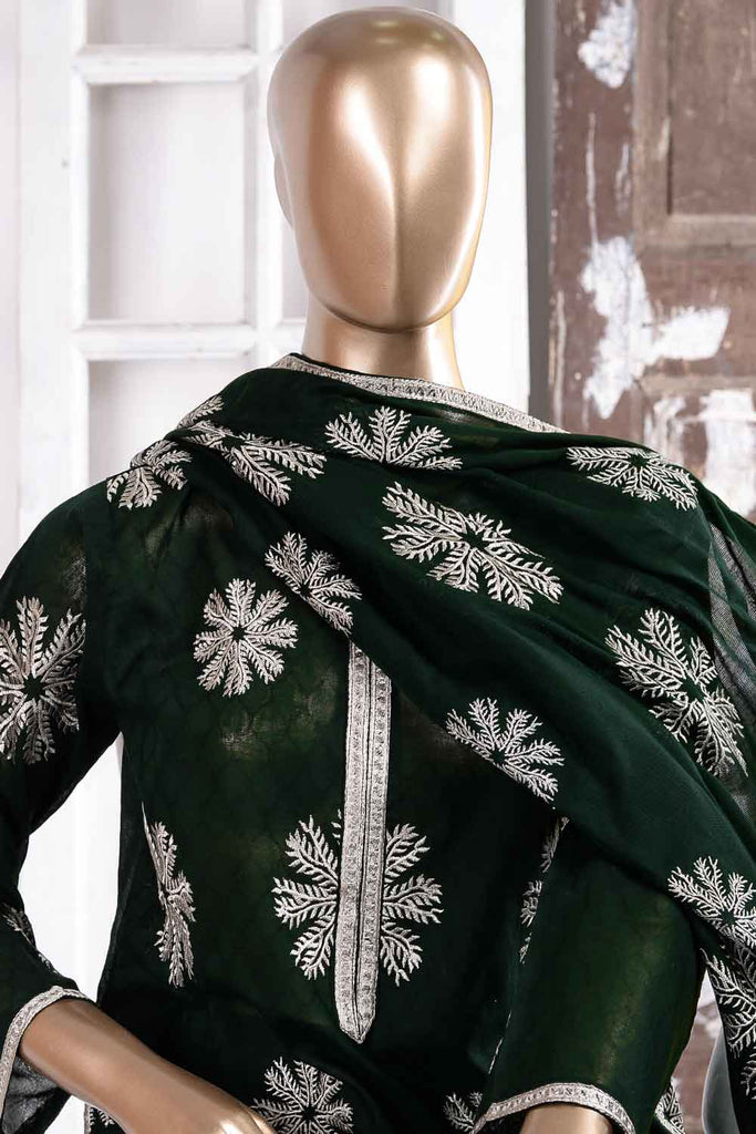Fan Jaal (SC-51B-Green) Embroidered Un-Stitched Jacquard Dress With Embroidered Lawn Dupatta