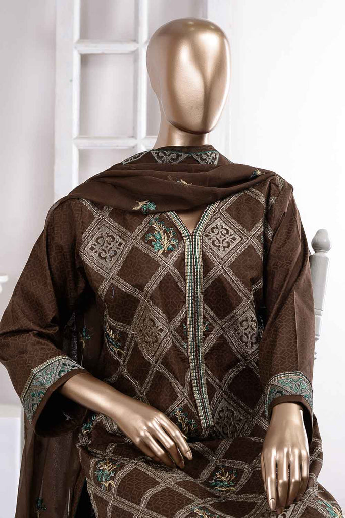 washer Rumbus (SC-52B-Brown) Embroidered Cambric Dress with Embroidered Chiffon Dupatta