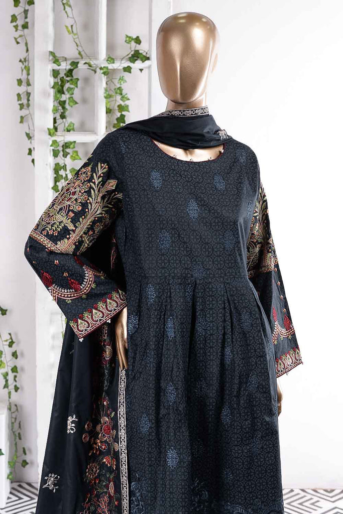 Alpine Garden (SC-55A-Blue) Embroidered Un-Stitched Cambric Dress With Embroidered Chiffon Dupatta