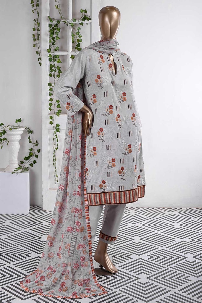 Sun Flower Tile (SC-58A-Light Purple) Embroidered Cambric Dress with Embroidered Chiffon Dupatta
